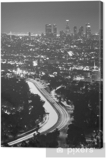 Downtown Los Angeles at night Canvas Print - Themes