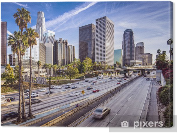 Downtown Los Angeles, California Cityscape Canvas Print - Palm trees