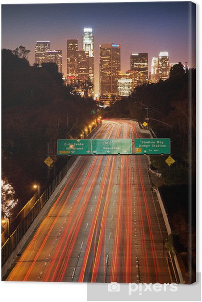 Downtown Los Angeles. Night freeway traffic. Canvas Print - Themes