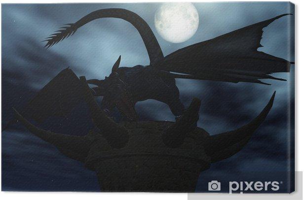dragon sous la lune Canvas Print - Themes