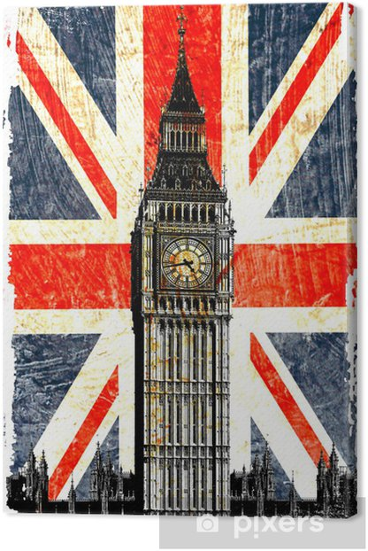 drapeau anglais big ben vertical Canvas Print -