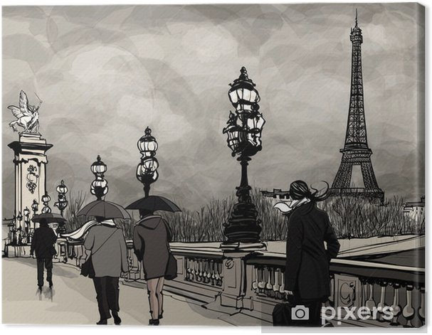 Drawing of Alexander III bridge in Paris showing Eiffel tower Canvas Print - Themes