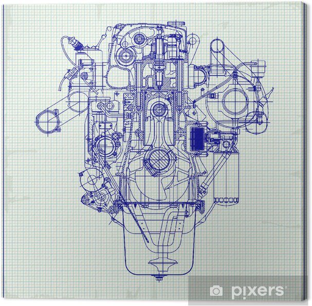 drawing old engine on graph paper  vector background  canvas print