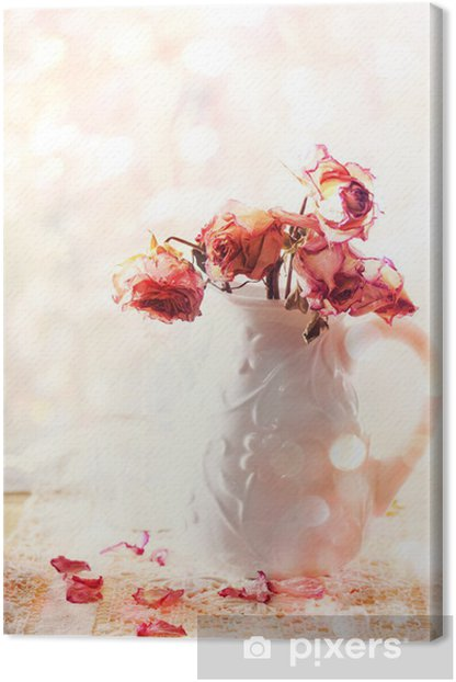 Dried roses in vase Canvas Print - Flowers