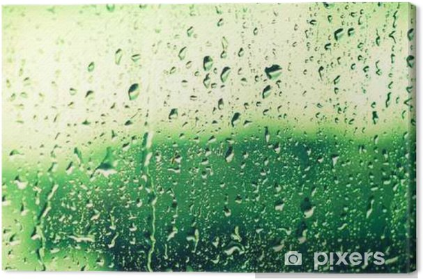 0f11d6cefd3 Drops Of Rain On Glass On Green Background. Greenery