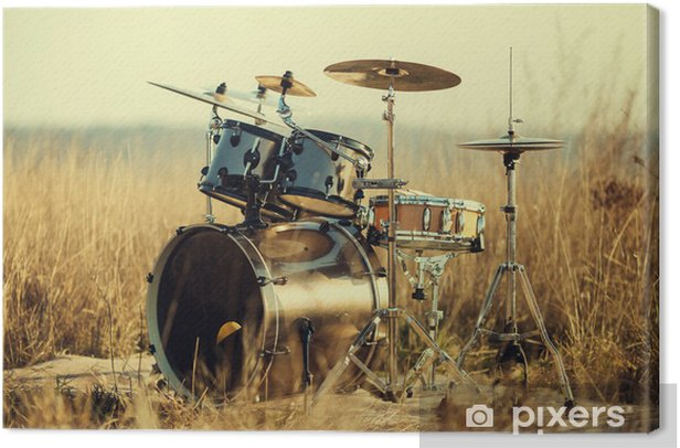 Drum set on fresh air Canvas Print - Music