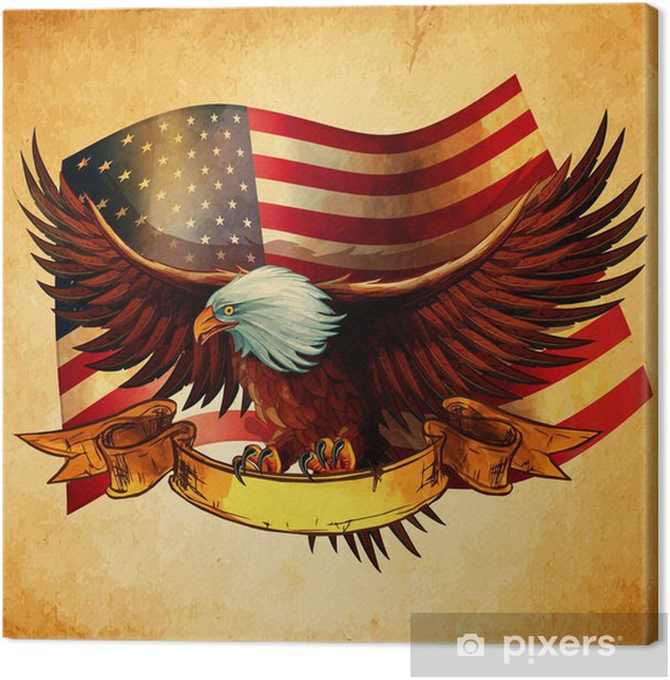 EAGLE FLAG USA VINTAGE Canvas Print - America