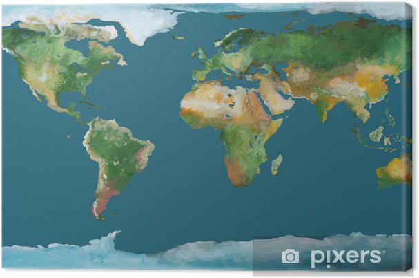 Earth Map As Brush Illustration Canvas Print Pixers We Live