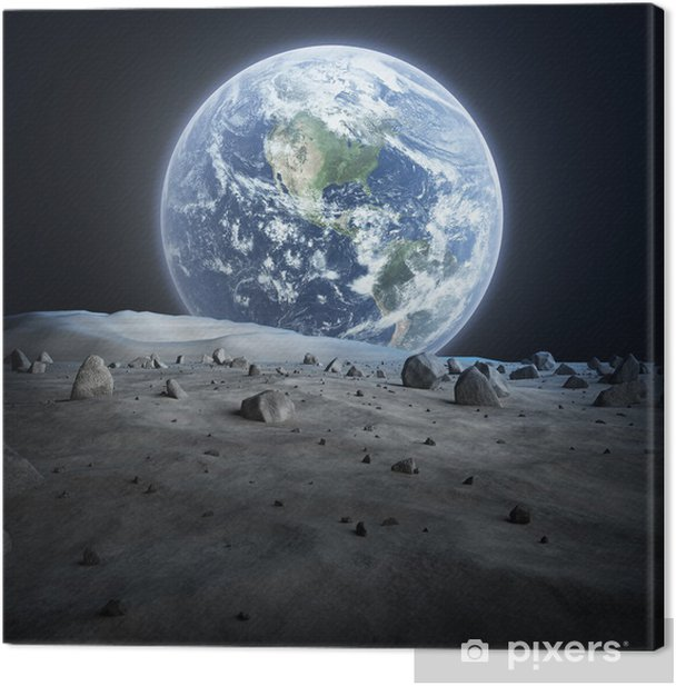 Earth seen from the moon. Canvas Print - Destinations