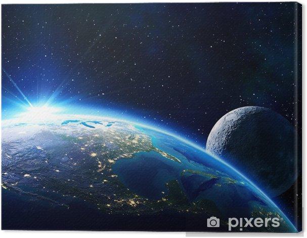 earth Usa, horizon and moon Canvas Print - Universe