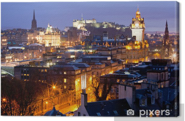 Edinburgh Skylines building and castle Scotland Canvas Print - Themes