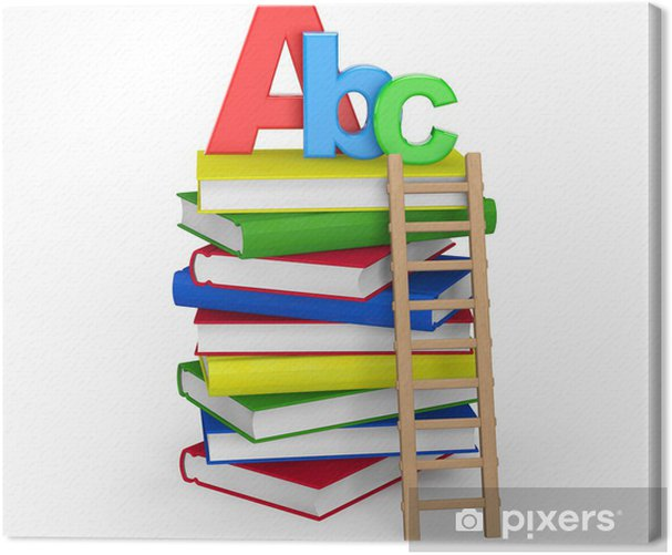 Education Concept. Books with ABC sign Canvas Print - Education