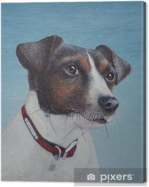 Egg tempera painting of a Jack Russell terrier Canvas Print - Hobbies and Leisure