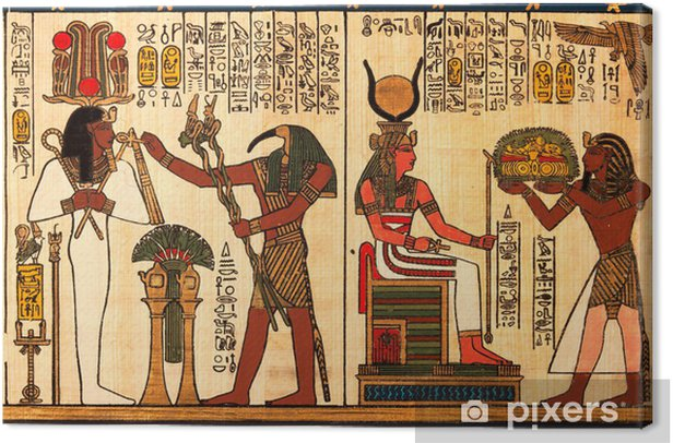 Egyptian papyrus with antique hieroglyphs Canvas Print - iStaging
