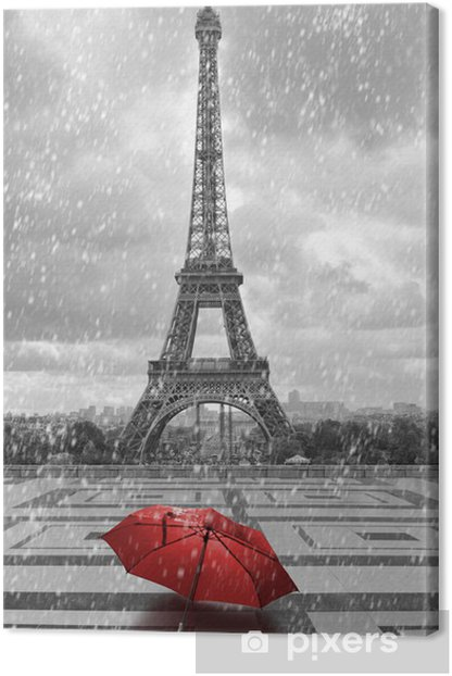 Eiffel tower in the rain. Black and white photo with red element Canvas Print - Styles