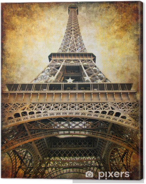 eiffel tower - retro styled picture Canvas Print - Themes