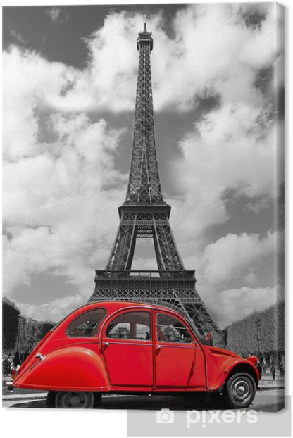 Eiffel Tower with red old car in Paris, France Canvas Print -