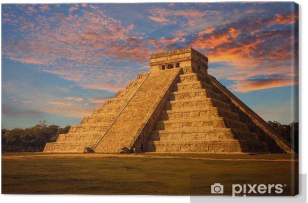 El Castillo (Kukulkan Temple) at sunset. Chichen Itza, México Canvas Print - Themes