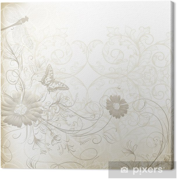 Elegant Clear Wedding Background With Floral Ornament Canvas Print