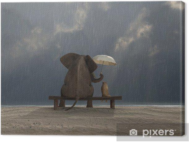 elephant and dog sit under the rain Canvas Print - Life