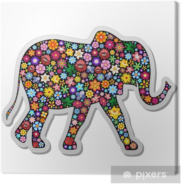Elephant Floral Sticker-Elefante Floreale Adesivo Canvas Print - Mammals