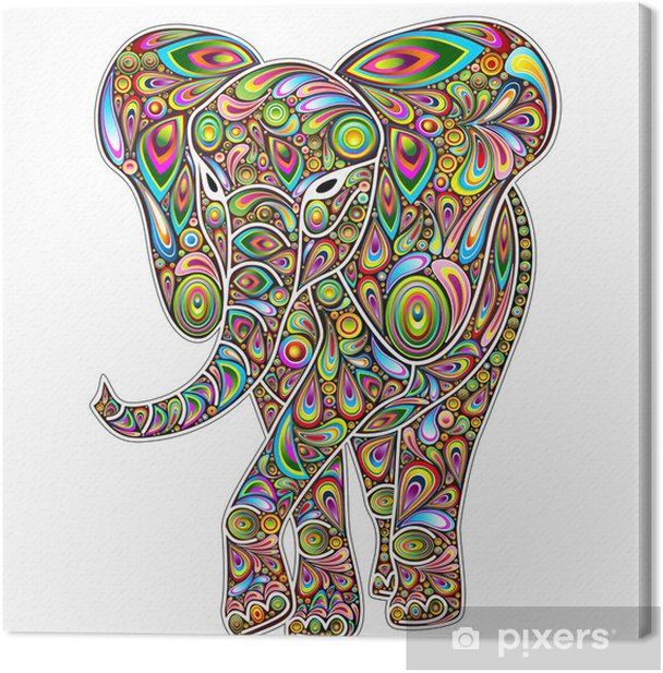 Elephant Psychedelic Pop Art Design on White Canvas Print - Wall decals