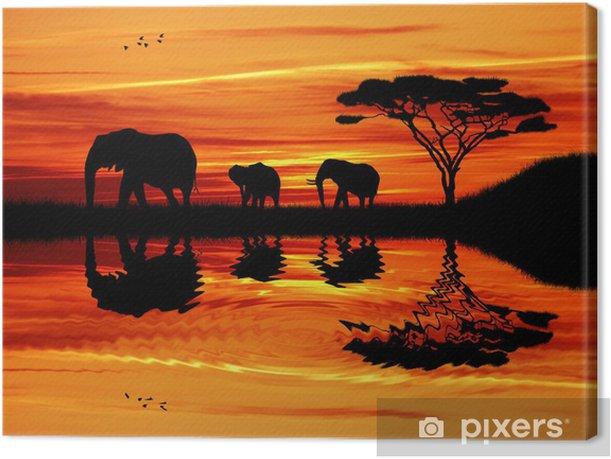 Elephant silhouette at sunset Canvas Print - Elephants
