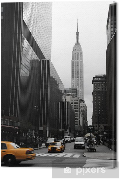 Emipre State Building and yellow, Manhattan, New York Canvas Print -