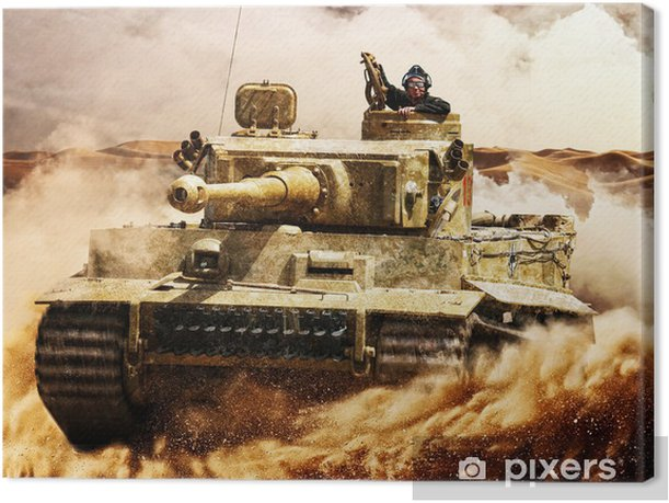 Enemy tanks moving in the desert Canvas Print - Violence and Crime