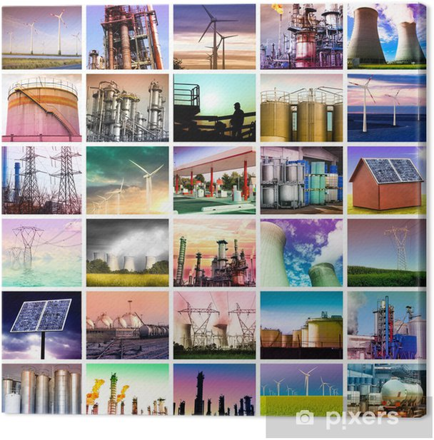 energy collage Canvas Print - Industrial and Commercial Buildings