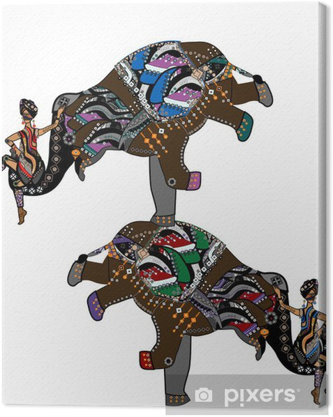ethnic acrobats Canvas Print - Wall decals