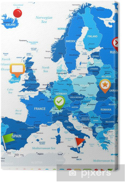 Europe - map and navigation icons - illustration.Image contains next  layers: land contours, country and land names, city names,water object  names, ...