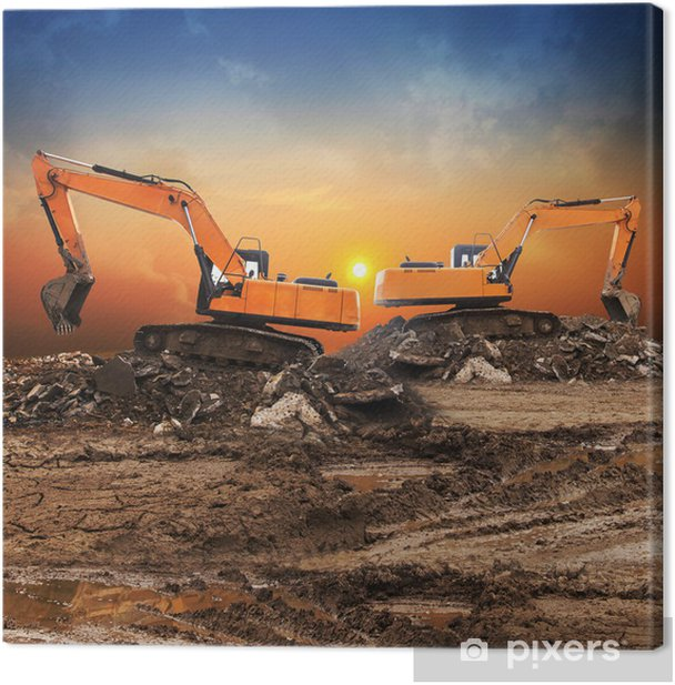 Excavator Canvas Print - Machinery