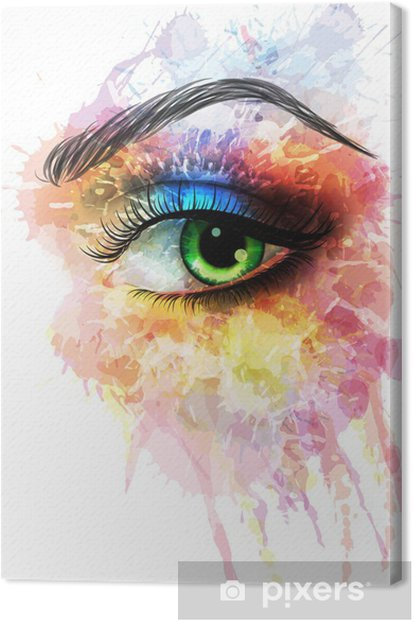 Eye made of colorful splashes Canvas Print - Wall decals