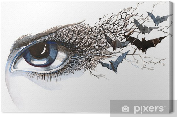 eye with bats (series C) Canvas Print - Styles
