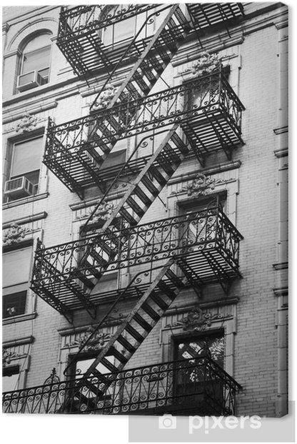 Façade avec escalier de secours noir et blanc - New-York Canvas Print - Themes