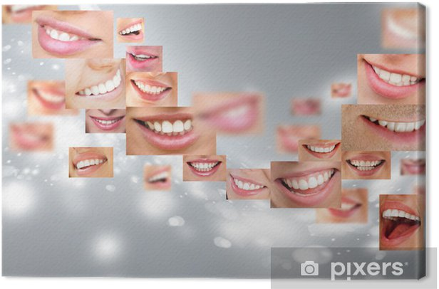 Faces of smiling people in set. Healthy teeth. Smile Canvas Print - Themes