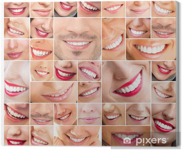 Faces of smiling people in set. Healthy teeth. Smile Canvas Print - Groups and Crowds