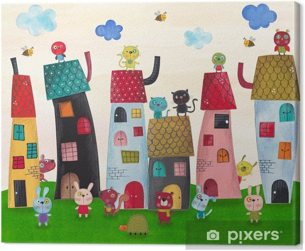 Fairy tale town. Watercolors on paper Canvas Print - Animals