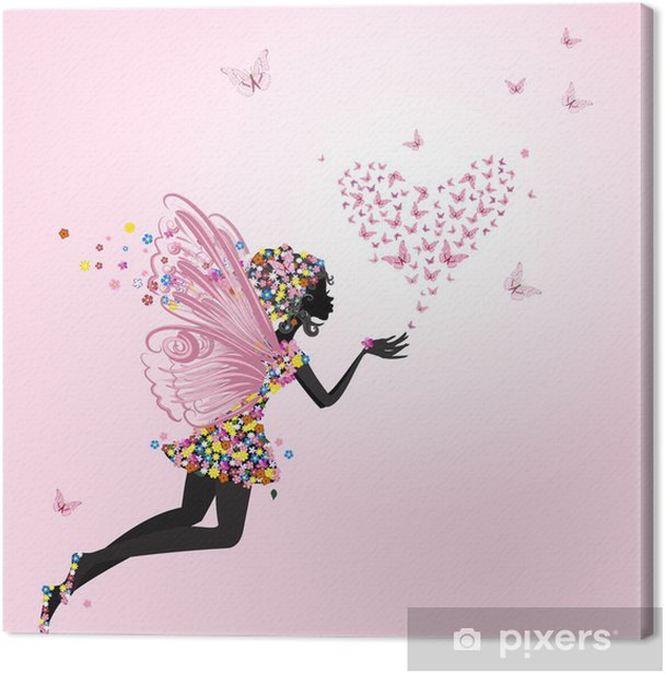 Fairy with a valentine of butterflies Canvas Print -
