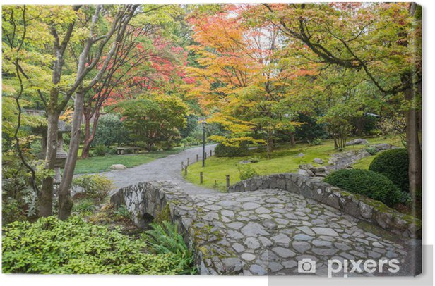 Fall Foliage Stone Bridge Japanese Garden Canvas Print - Themes