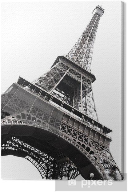 Famous Eiffel Tower of Paris isolated on white Canvas Print - Themes