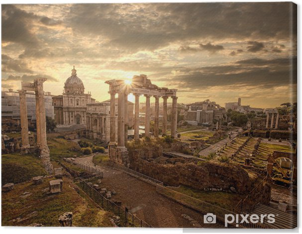 Famous Roman ruins in Rome, Capital city of Italy Canvas Print -