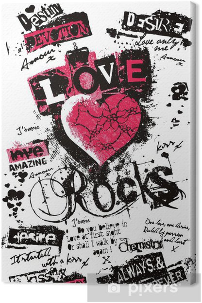 fancy heart in graffiti style Canvas Print - Themes
