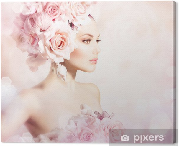Fashion Beauty Model Girl with Flowers Hair. Bride Canvas Print - Fashion