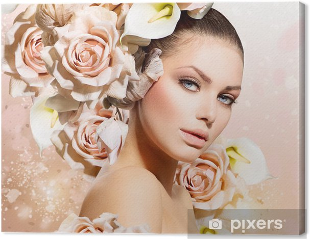 Fashion Beauty Model Girl with Flowers Hair. Bride Canvas Print - Themes