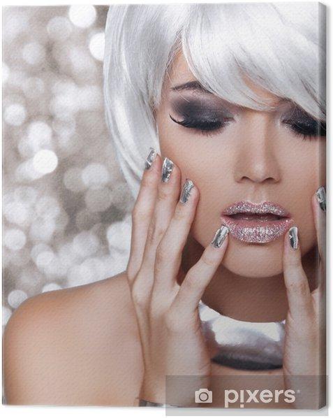 Fashion Blond Girl. Beauty Portrait Woman. White Short Hair. Iso Canvas Print - Fashion