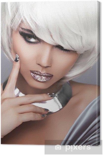 Fashion Blond Girl. Beauty Portrait Woman. White Short Hair. Sex Canvas Print - Fashion