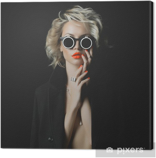 Fashion blonde with bright makeup and accessories Canvas Print - Fashion