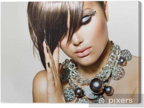 Fashion Glamour Beauty Girl With Stylish Hairstyle and Makeup Canvas Print - Fashion